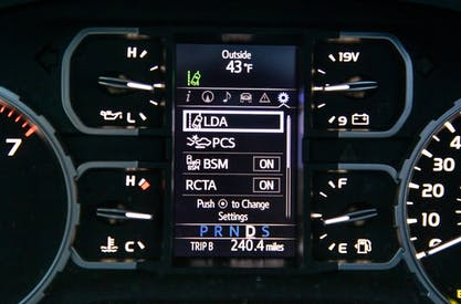 2020 Toyota Tundra instrument panel and driver assist feature options
