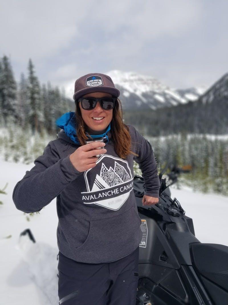 South Rockies Field Team Member Lisa Larson wearing the Ole Originals AvCan Hoodie