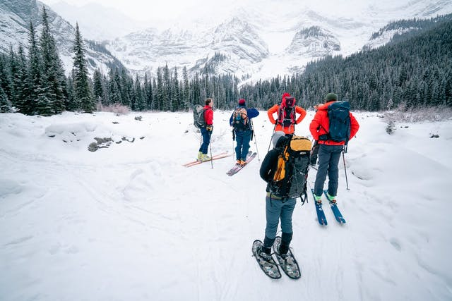 Students in an Avalanche Skills Training 1 course in the Canadian Rockies