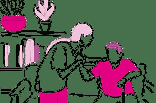 Personne âgée avec une aide à domicile