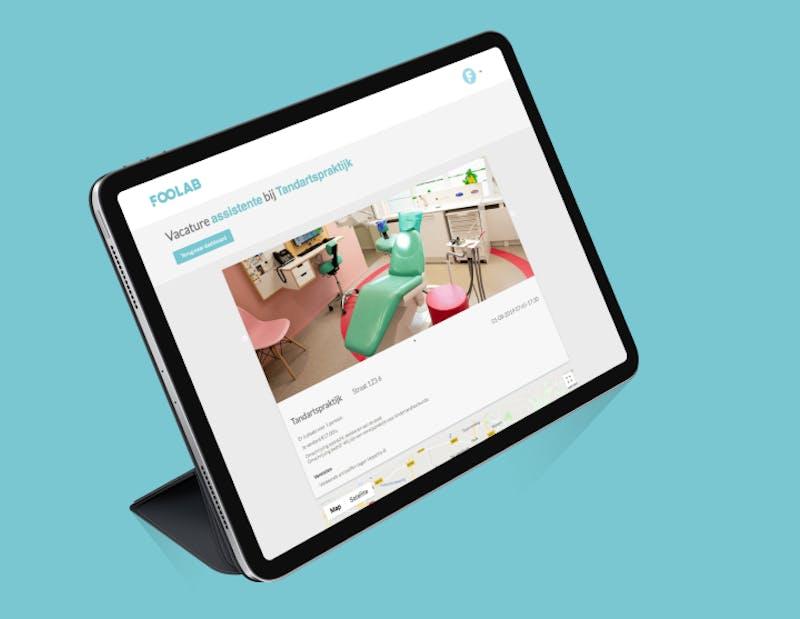 Tablet online uitzendbureau platform voor studenten