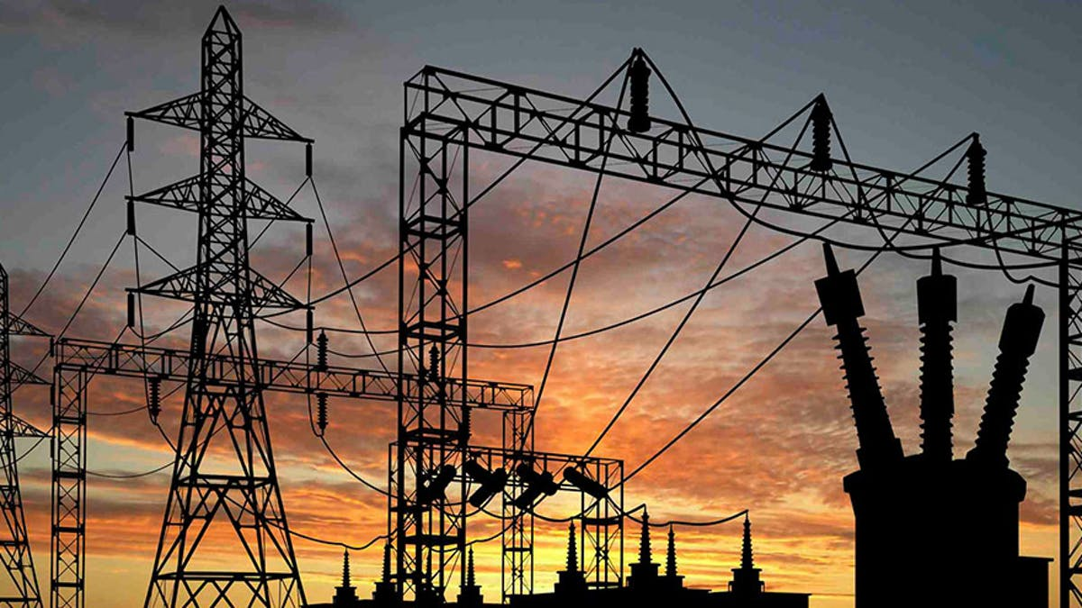 Electricity transmission infrastructure at sunset