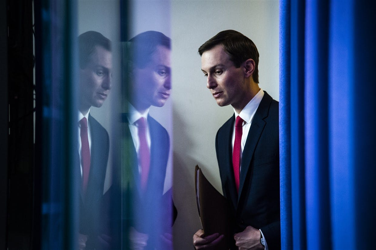 Jared Kushner arrives with President Donald J. Trump to speak with members of the coronavirus task force during a briefing in response to the coronavirus pandemic at the White House on April 2, 2020.