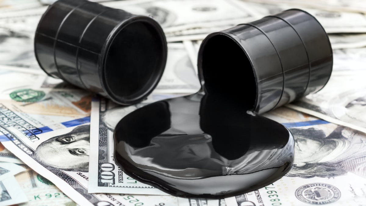 Oil spilled on money