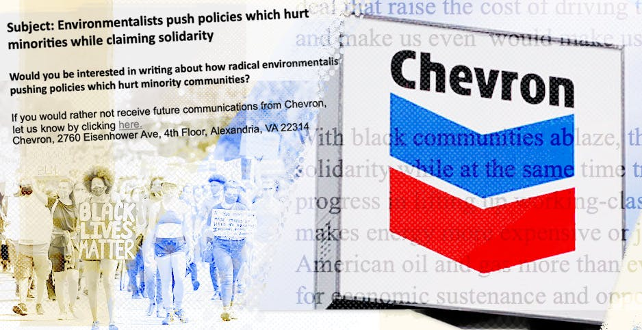 A PR firm that argued green policies are hurting minority communities accidentally revealed Chevron as a client