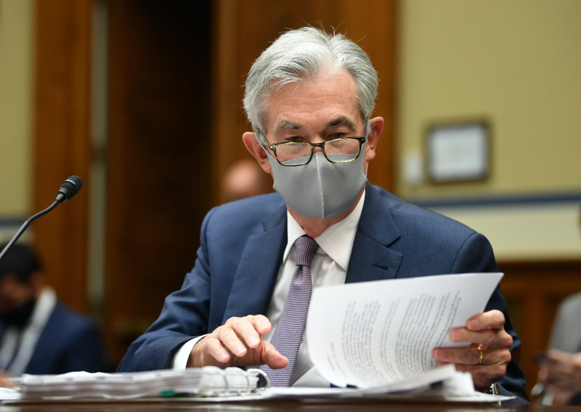 Federal Reserve Chair Jerome Powell prepares to testify before the Select Subcommittee on the Coronavirus Crisis on the Federal Reserves.