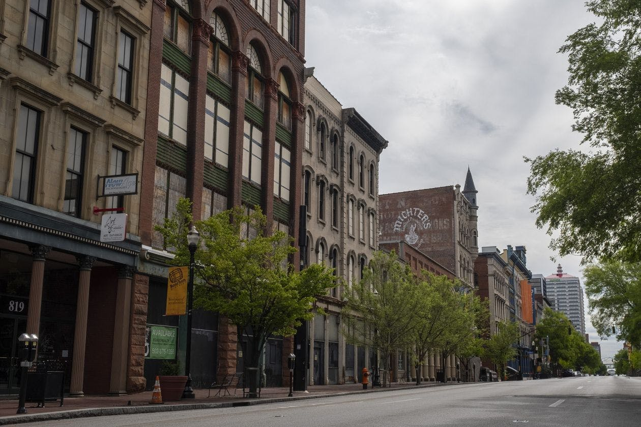 Main Street stands empty amid the Covid-19 pandemic in downtown Louisville, Ky., April 25.