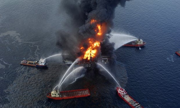 BP made its first full-year loss last year since the Deepwater Horizon disaster, above, in 2010.