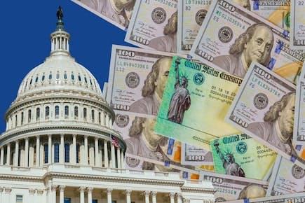 U.S. Capitol building and $100 bills