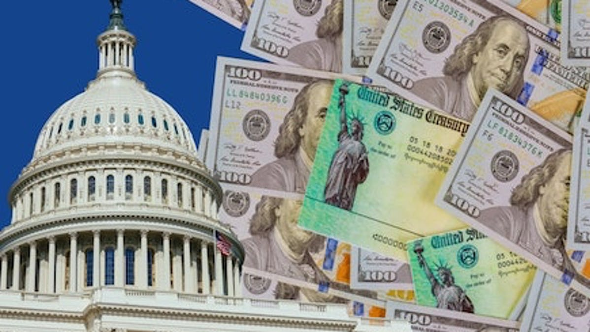 Illustration of hundred-dollar bills and the dome of the U.S. Capitol building.