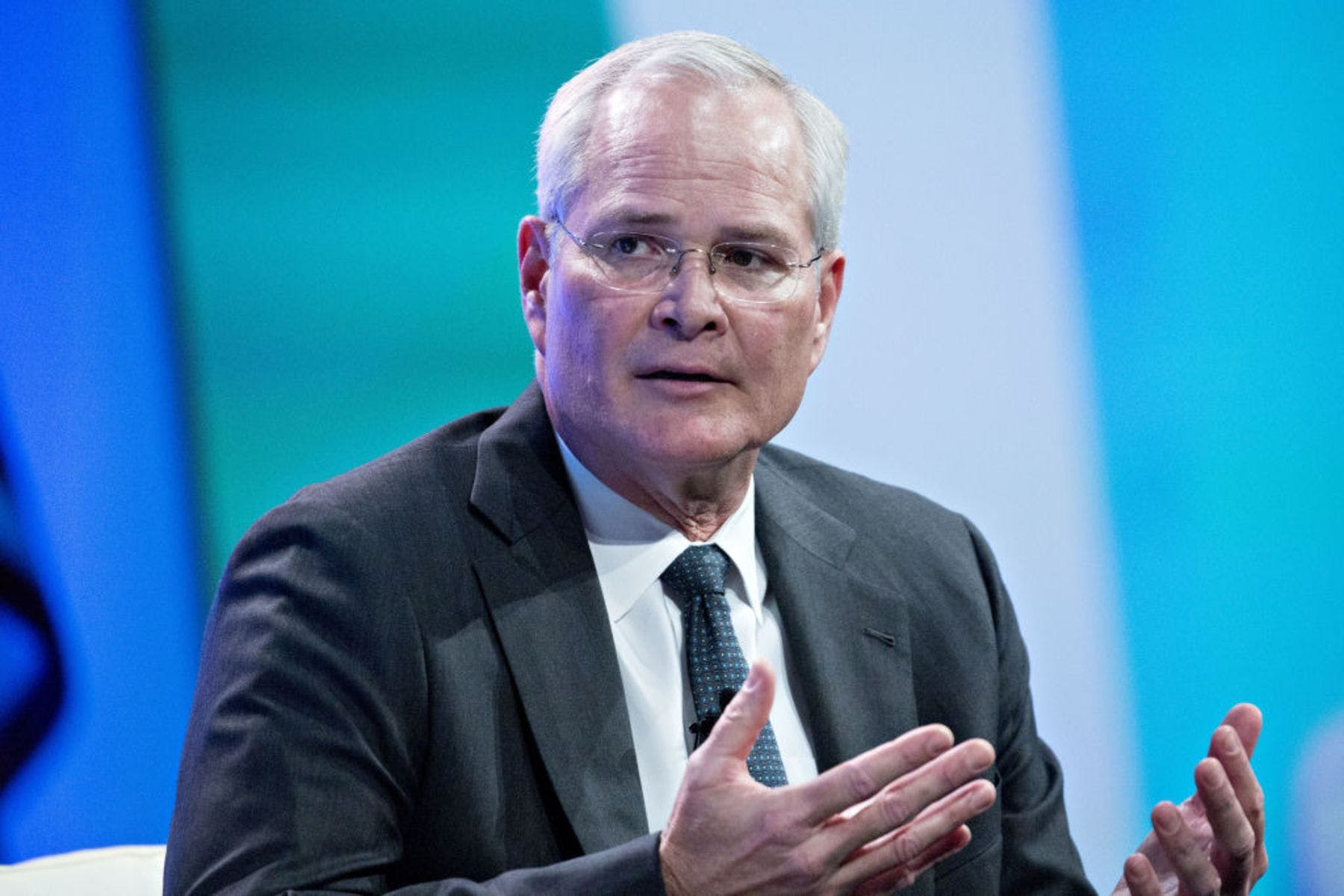 Darren Woods, chairman and chief executive officer of Exxon Mobil Corp., seeming to wonder where his barrels went.