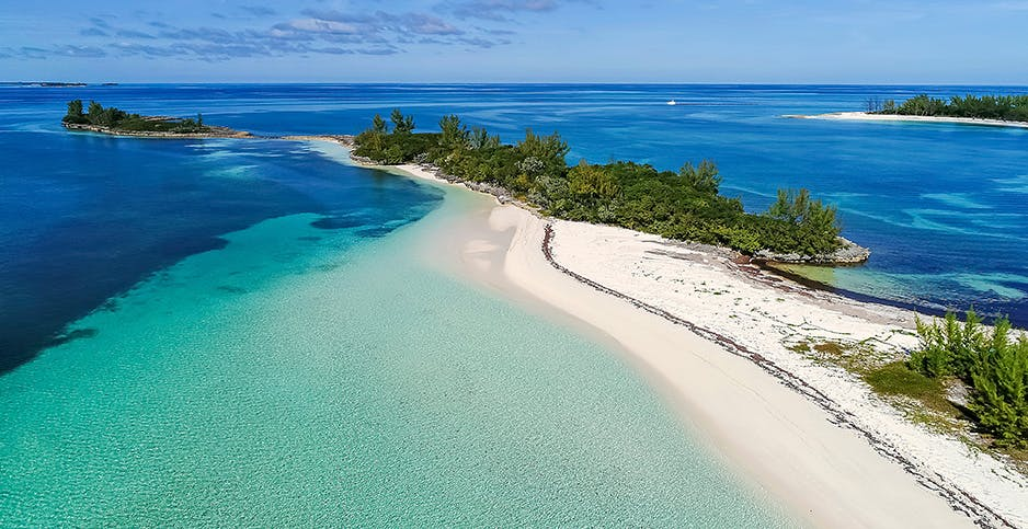 An aerial view of Munjack Cay in the Bahamas' Abaco Islands.