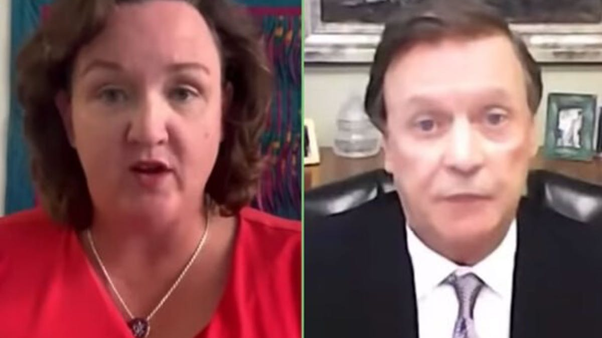 Split-screen image of Representative Katie Porter speaking and oil executive Mike Murphy looking befuddled and defeated