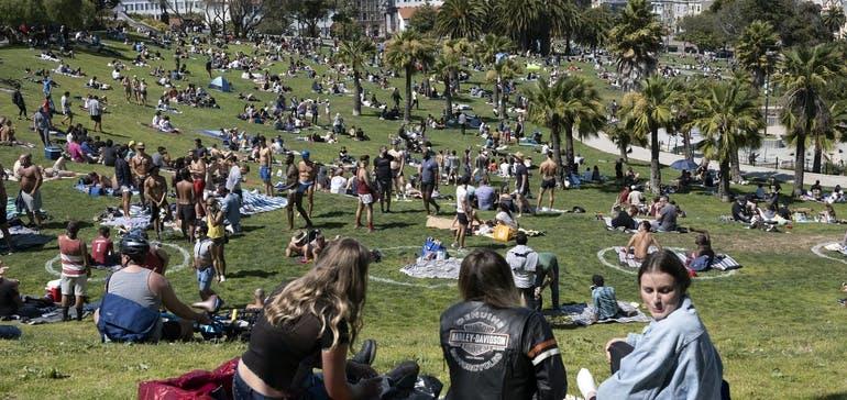 picnickers at Mission Dolores Park San Francisco