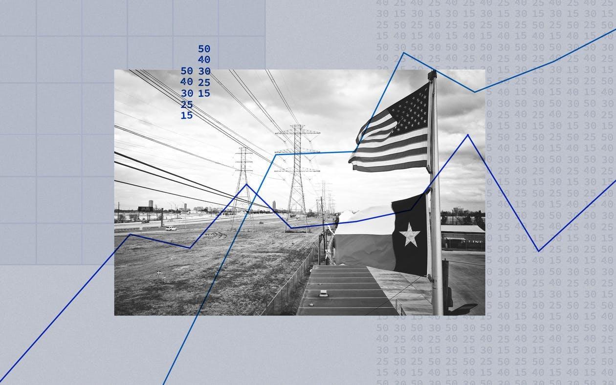 power lines american flag texas flag
