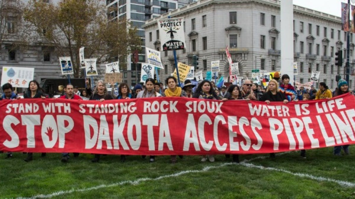 Protestors Standing Rock Dakota Access Pipeline water is life