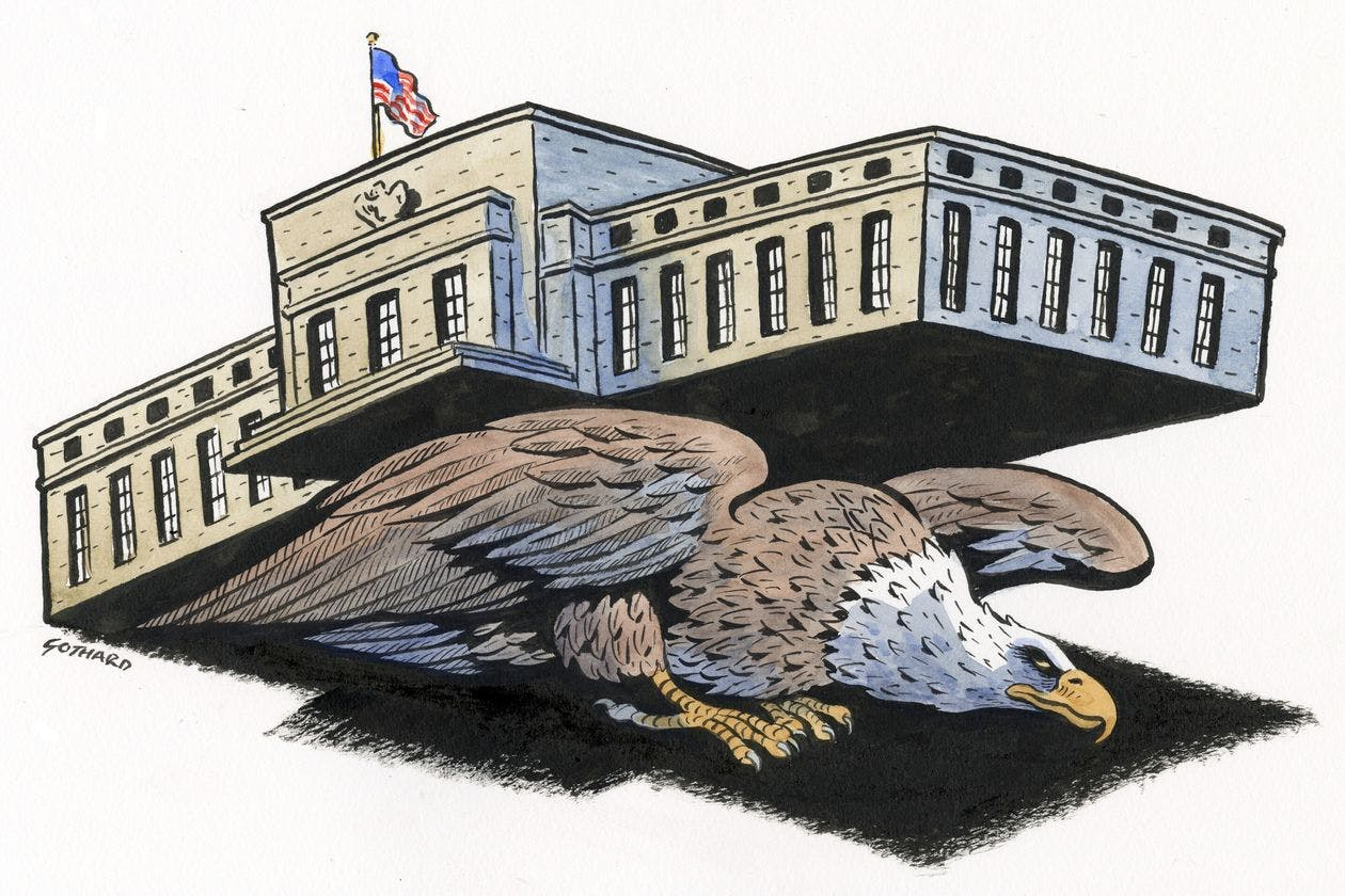 Cartoon of eagle carrying Federal Reserve building on its back