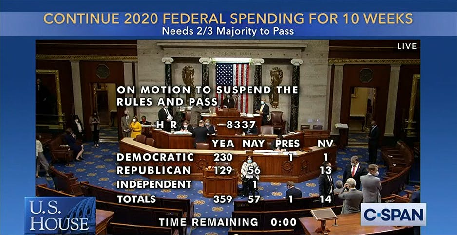The House last night approved a continuing resolution on spending into December.