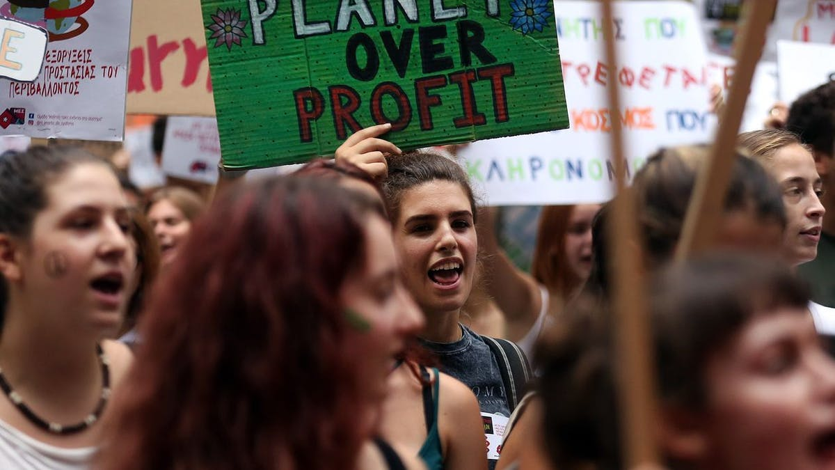 Protestors marching for climate justice