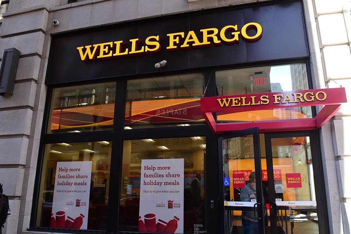 Exterior of the Wells Fargo bank. | Lisa Lake/Getty Images for Wells Fargo