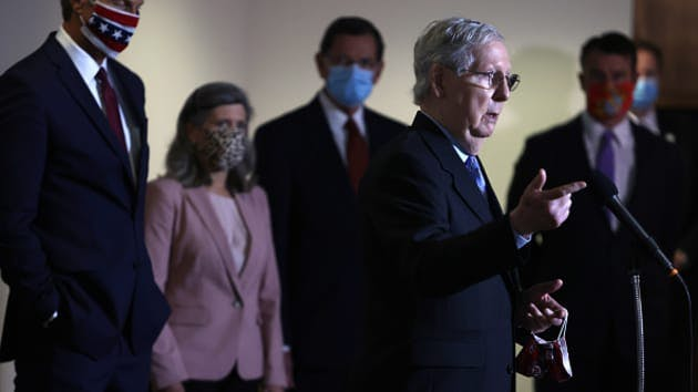 Senate Majority Leader Sen. Mitch McConnell (R-KY) speaks to members of the press after a weekly Senate Republican Policy Luncheon at Hart Senate Office Building August 4, 2020 on Capitol Hill in Washington, DC.