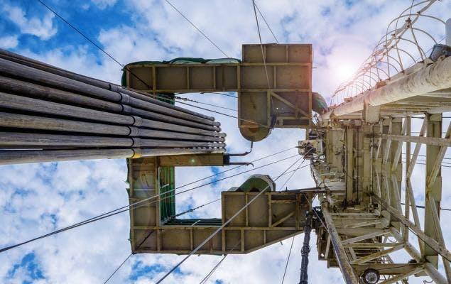 Oil rig from below