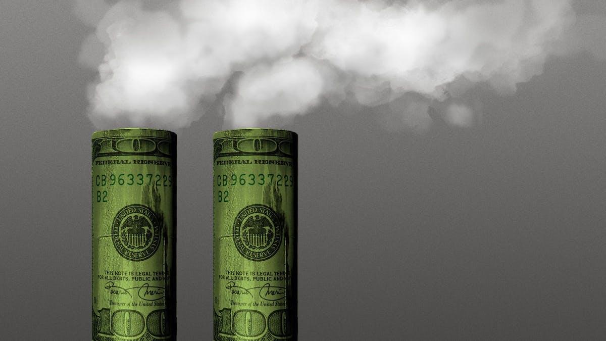 Cartoon of two smokestacks made of 100-dollar bills