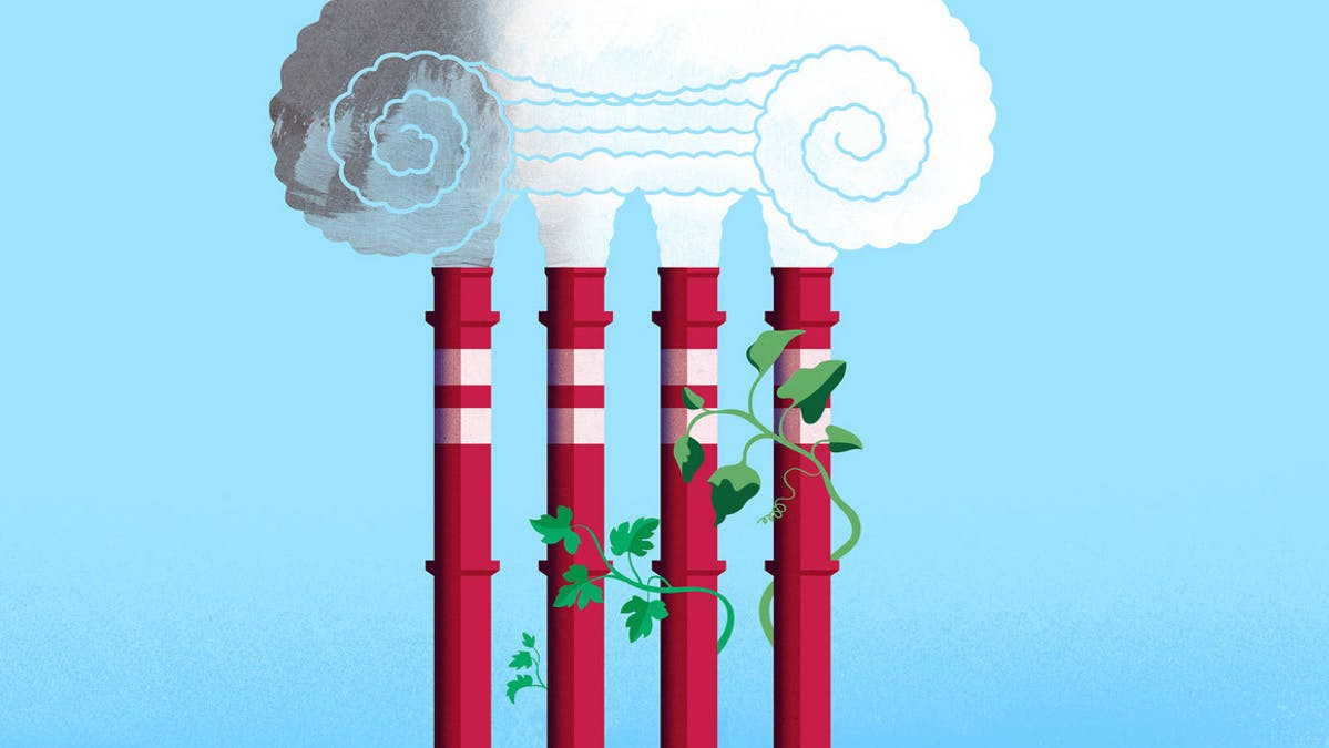 Cartoon of smokestacks