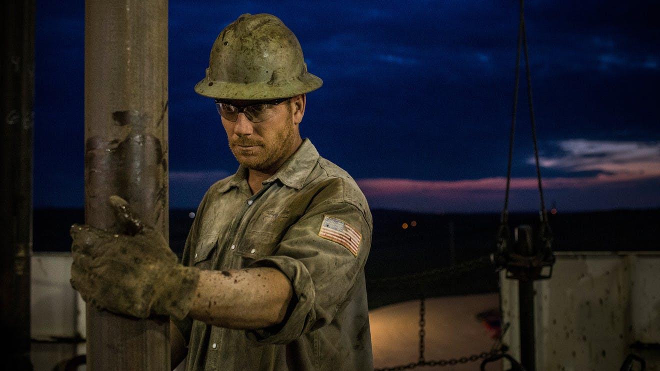 Oil worker in hard hat