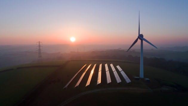 wind turbine solar panels sunrise