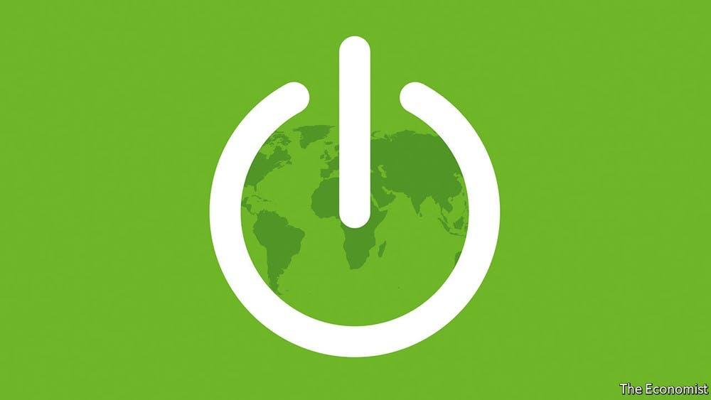 power button green world map