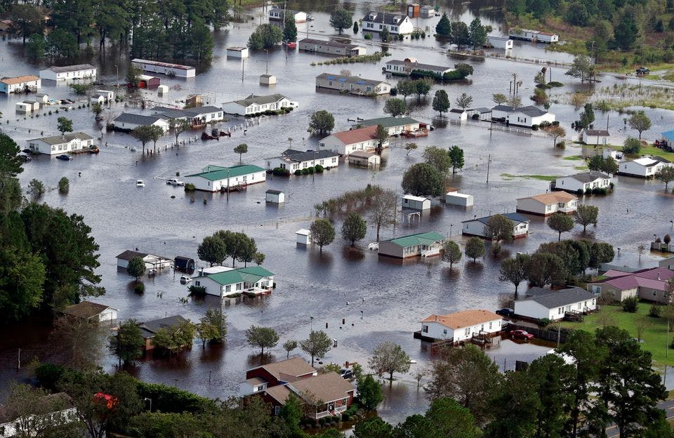 Houses flooded after a hurricane