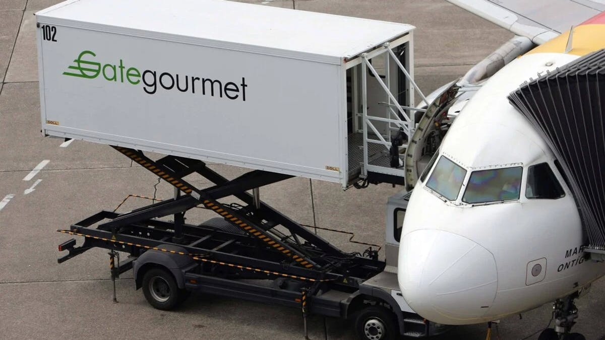 A Gate Gourmet loading vehicle at the airport in Duesseldorf, Germany, in 2008.