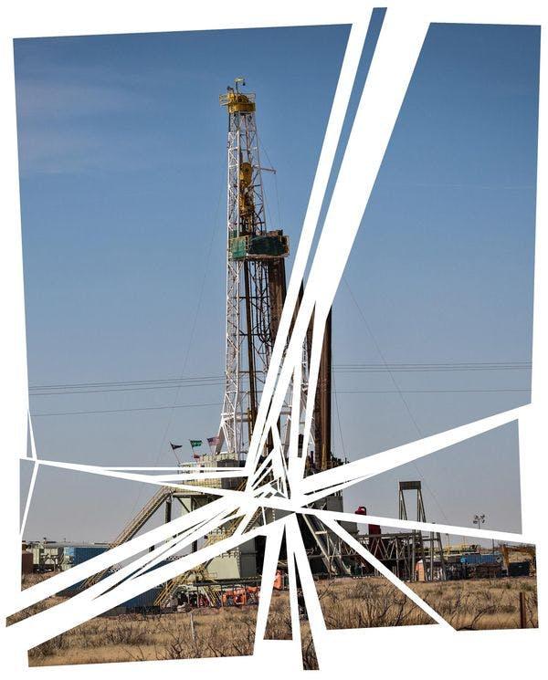 A rig on the Permian Basin, near Pecos, Texas.