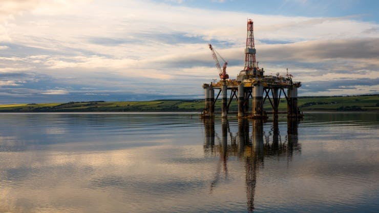 The Well-Safe Guardian plug and abandonment rig, operated by Well-Safe Solutions Ltd, stands in the Port of Cromarty Firth in this aerial view in Cromarty, U.K.