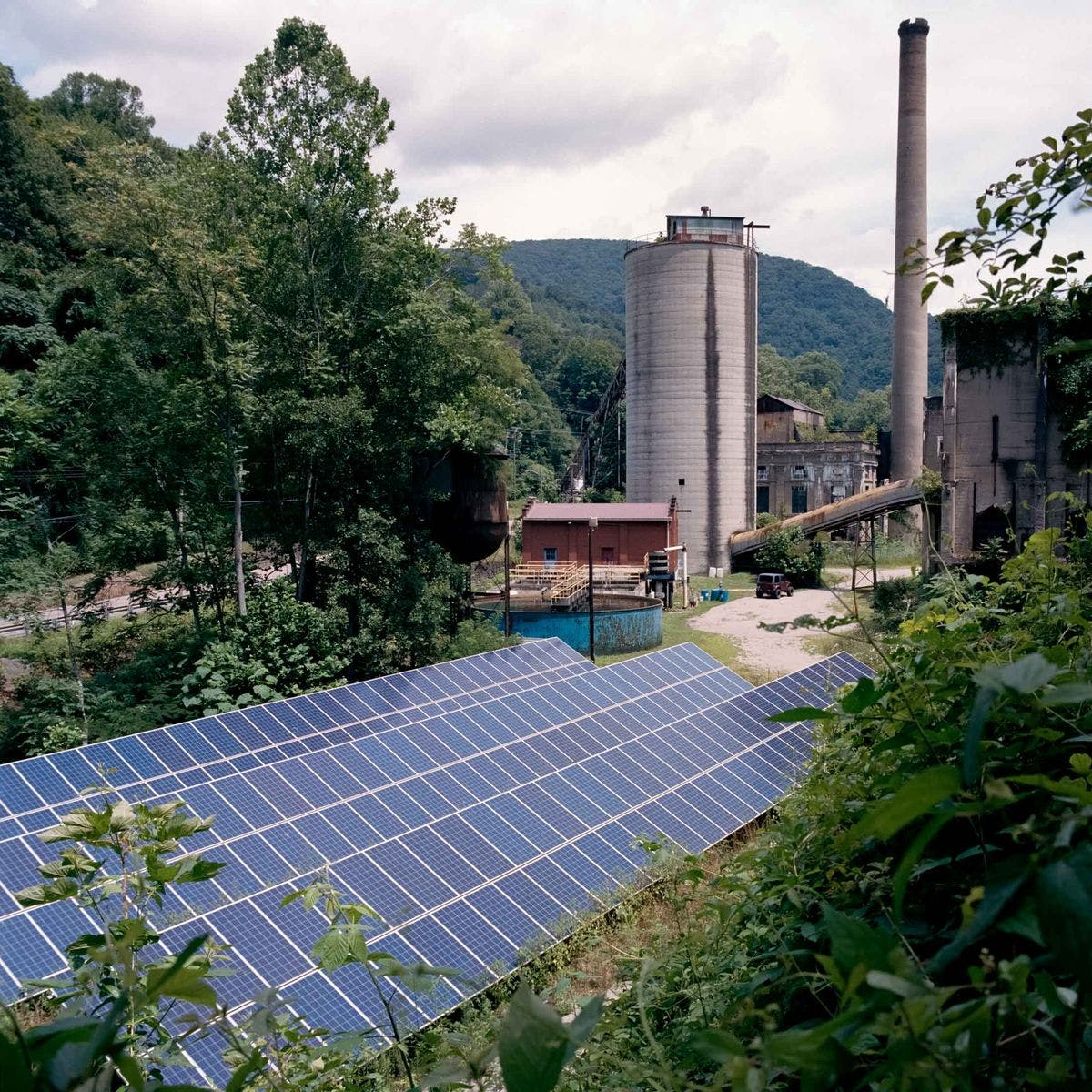 Solar panels at the closed coal plant across from the Portal No. 31 Underground Coal Mine exhibit in Lynch, Kentucky.