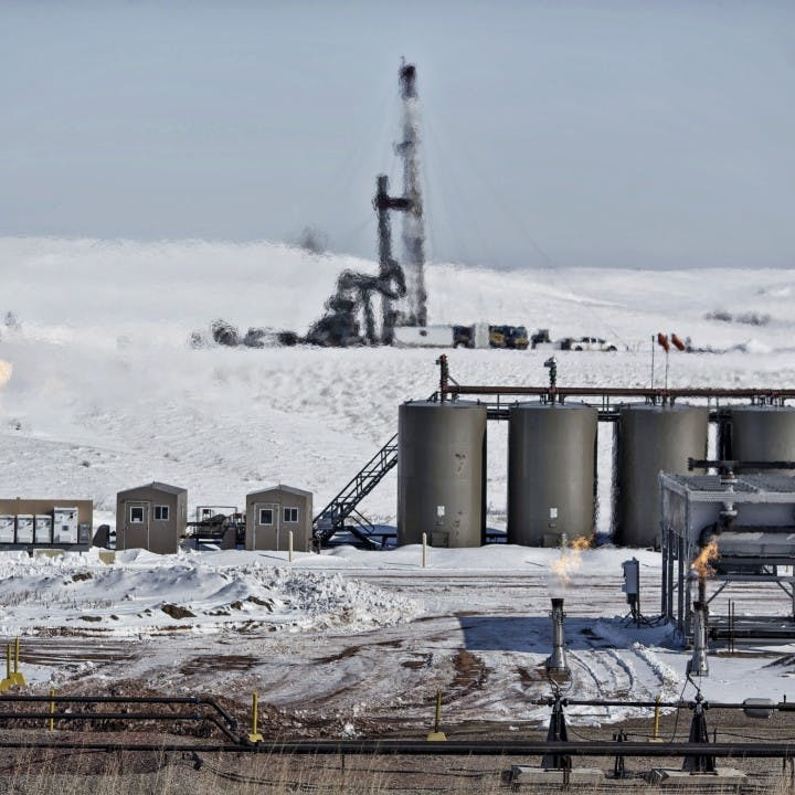 Shale oil infrastructure in the snow