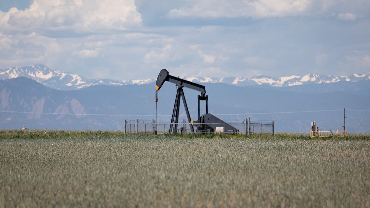 oil well pumpjack Rocky Mountains Colorado