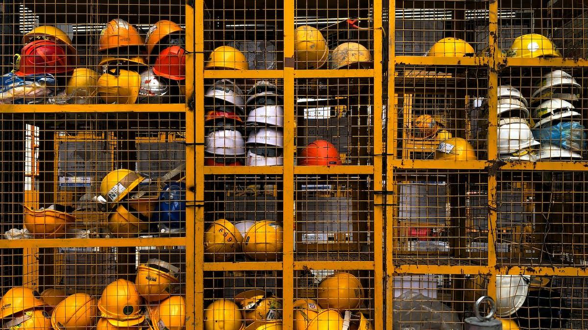 Hard hats in storage