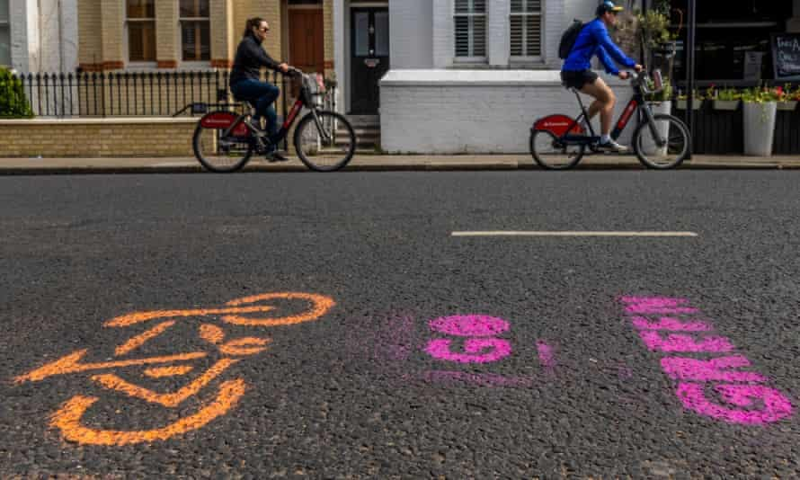 An Extinction Rebellion pop-up cycle lane in west London