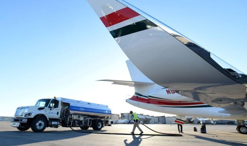 A business jet is refuelled using Jet A fuel at the Henderson Executive Airport during the National Business Aviation Association (NBAA) exhibition in Las Vegas, Nevada, U.S. October 21, 2019.