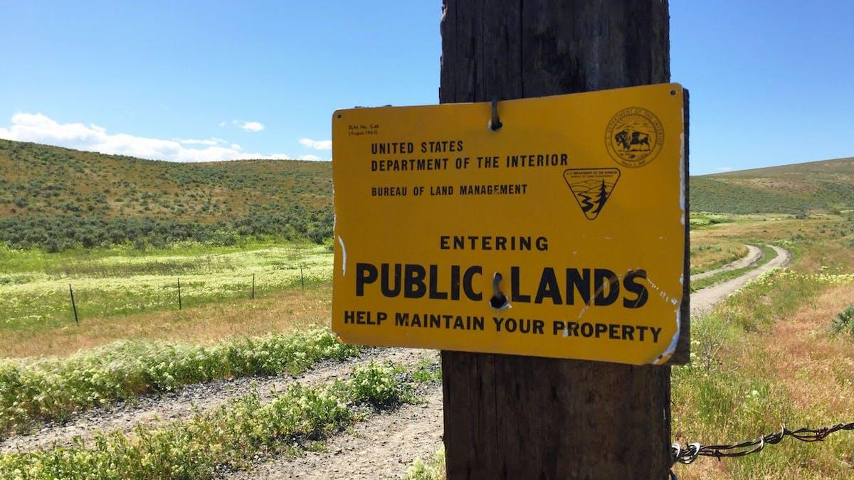 Public lands sign Department of Interior