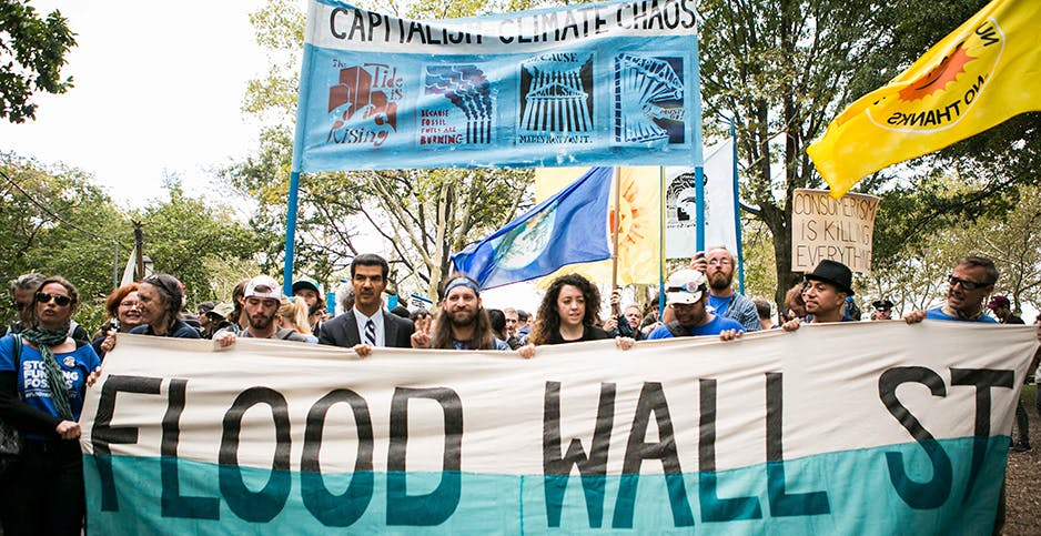 Climate activists march on Wall Street in 2014