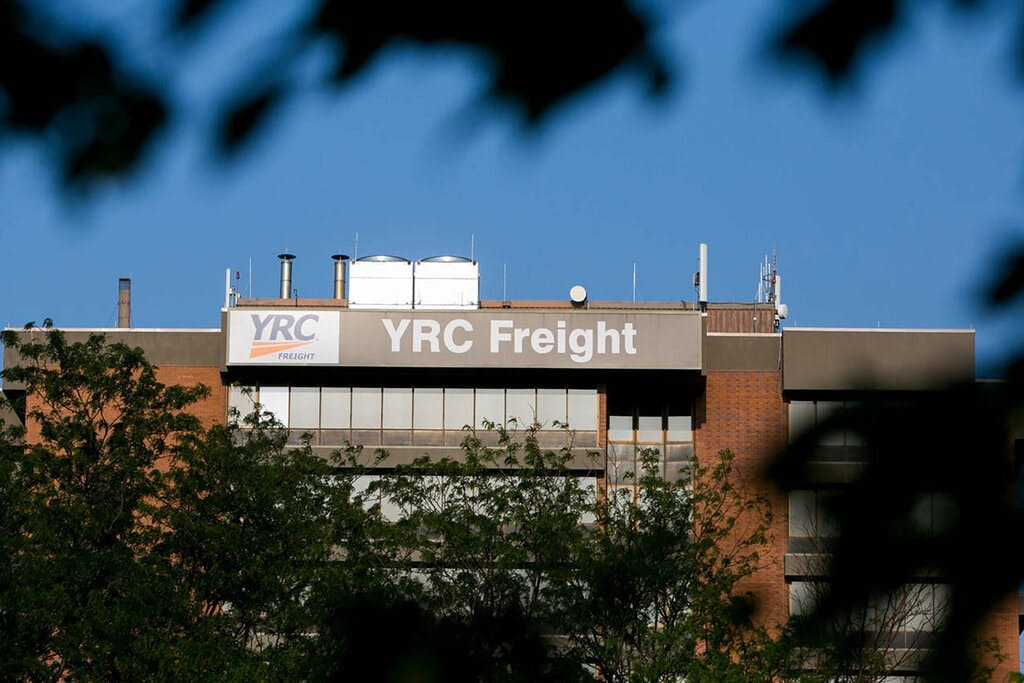 The headquarters of YRC Worldwide in Overland Park, Kan. The company lost over $100 million in 2019.