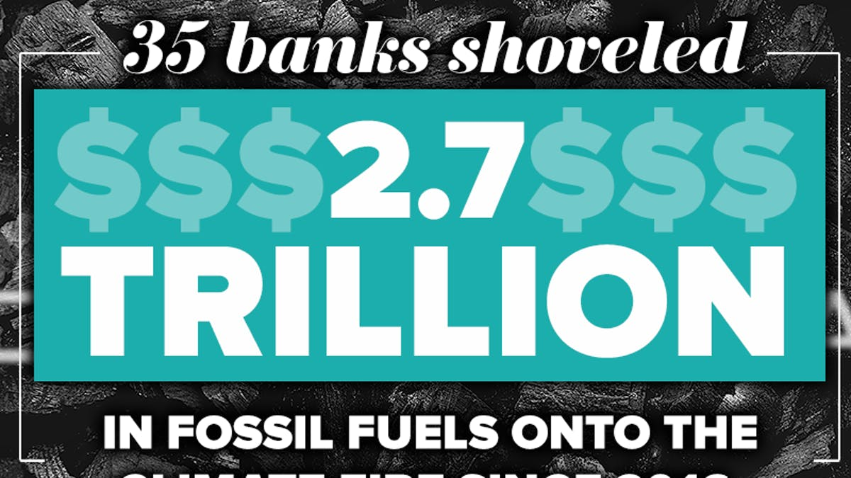 35 banks financed $2.7 trillion in fossil fuels over the past four years