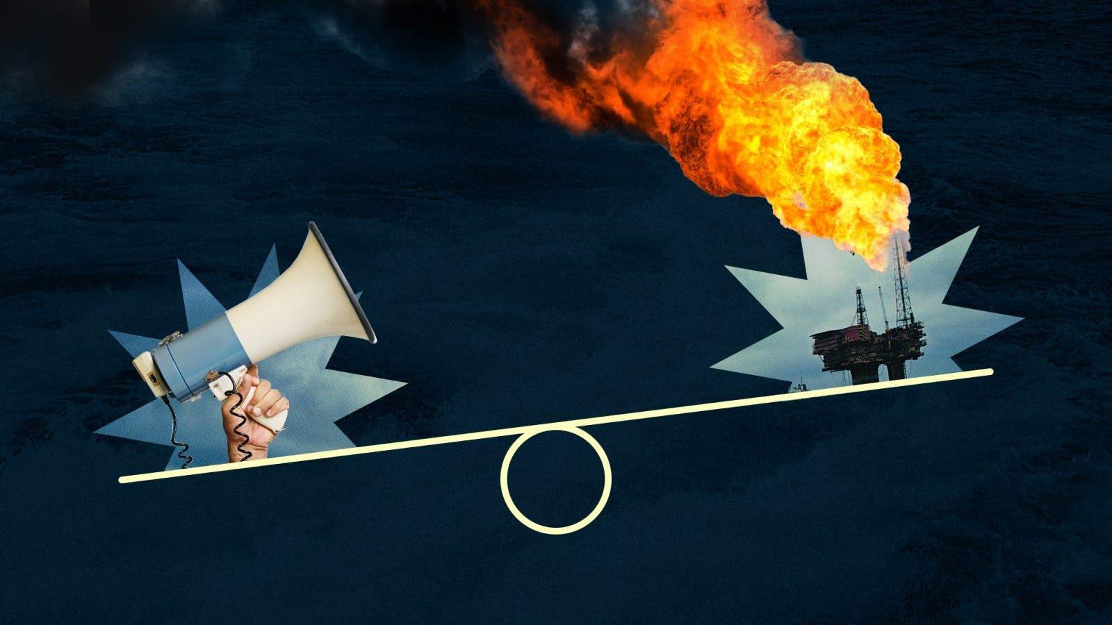Megaphone yells at oil rig flaring