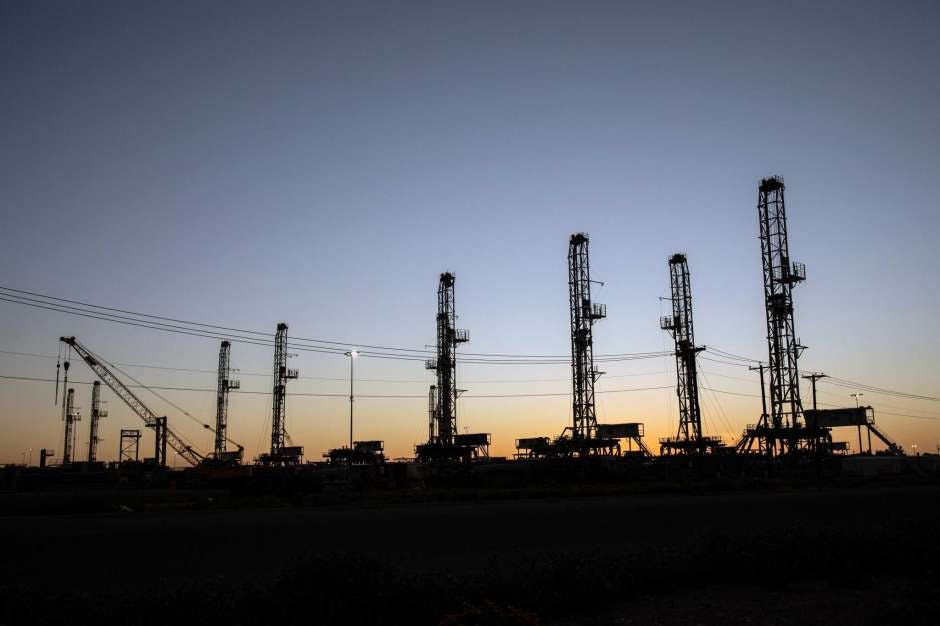 Unused oil drilling rigs are stored in Odessa, Texas, on April 24, 2020.The U.S. rig count remained unchanged from last week in a sign that perhaps the sharp plunge in drilling activity is finally bottoming out after 20 straight weeks of losses.