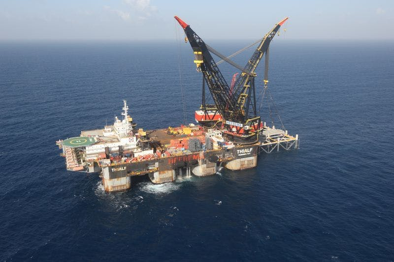 An aerial view shows the newly arrived foundation platform of Leviathan natural gas field, in the Mediterranean Sea, off the coast of Haifa, Israel