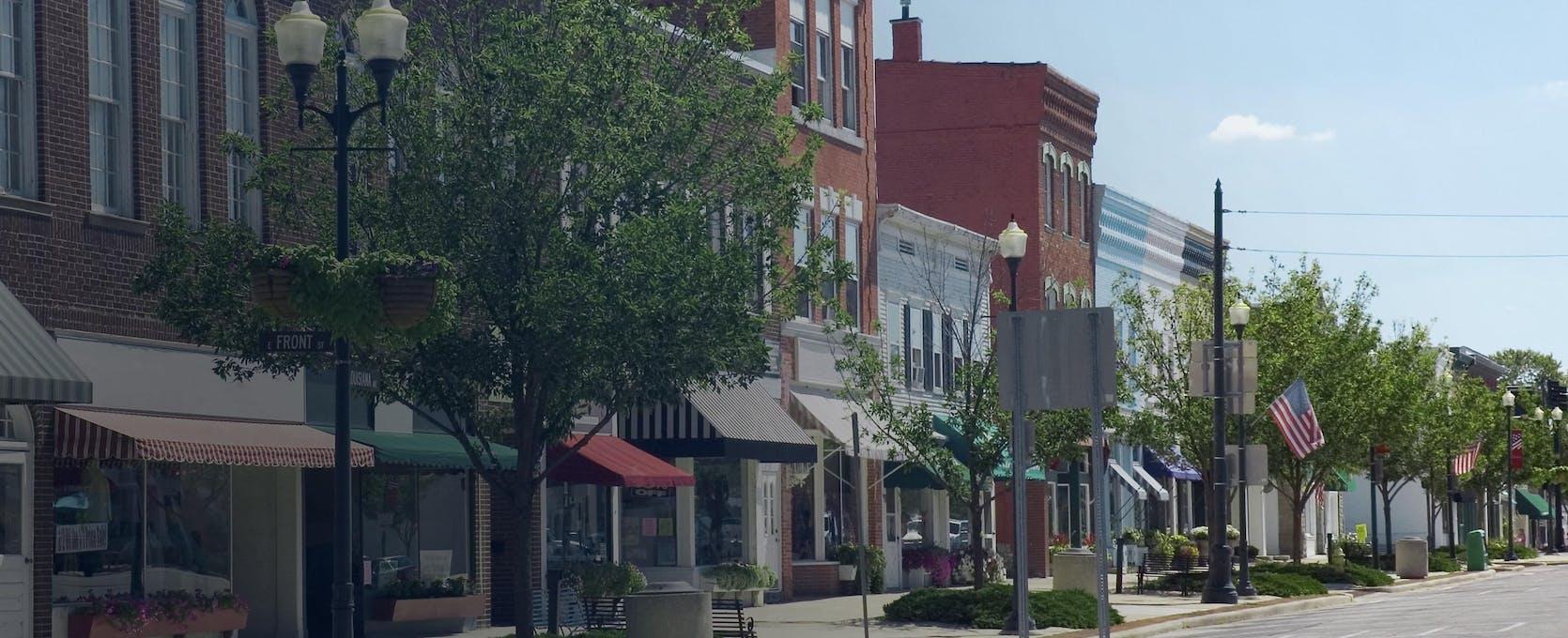 Tree-lined street represents Main Street America