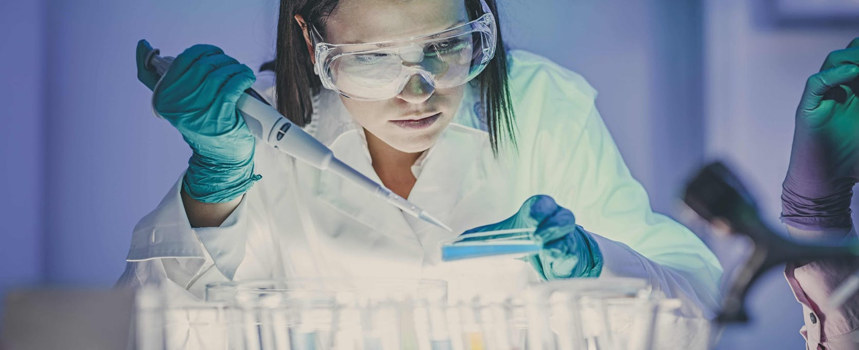 Scientist measures samples in a lab